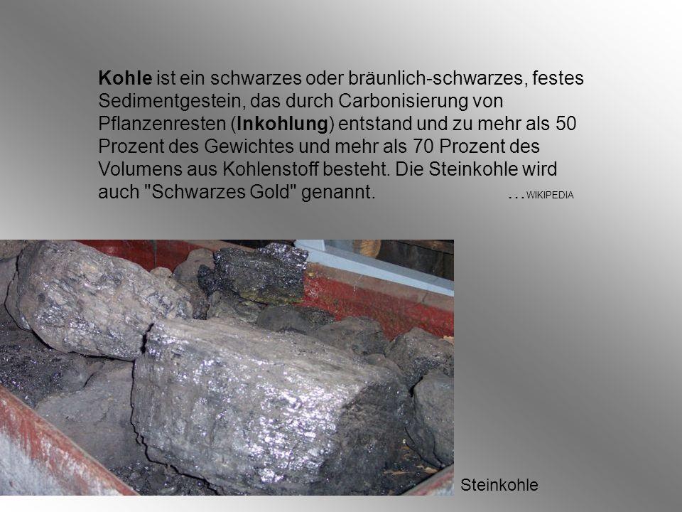 Kohle ist ein schwarzes oder bräunlich-schwarzes, festes Sedimentgestein, das durch Carbonisierung von Pflanzenresten (Inkohlung) entstand und zu mehr als 50 Prozent des Gewichtes und mehr als 70 Prozent des Volumens aus Kohlenstoff besteht.