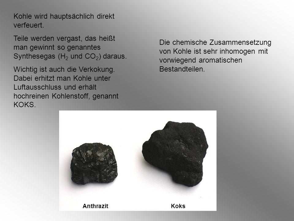 Die chemische Zusammensetzung von Kohle ist sehr inhomogen mit vorwiegend aromatischen Bestandteilen.