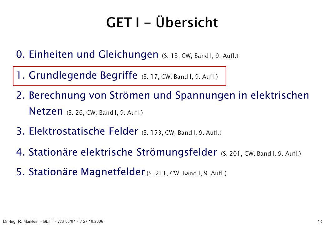 Dr.-Ing. R. Marklein - GET I - WS 06/07 - V 27.10.2006 13 GET I - Übersicht 0. Einheiten und Gleichungen (S. 13, CW, Band I, 9. Aufl.) 1. Grundlegende