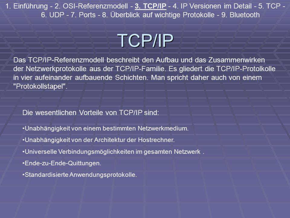 TCP/IP 1. Einführung - 2. OSI-Referenzmodell - 3. TCP/IP - 4. IP Versionen im Detail - 5. TCP - 6. UDP - 7. Ports - 8. Überblick auf wichtige Protokol