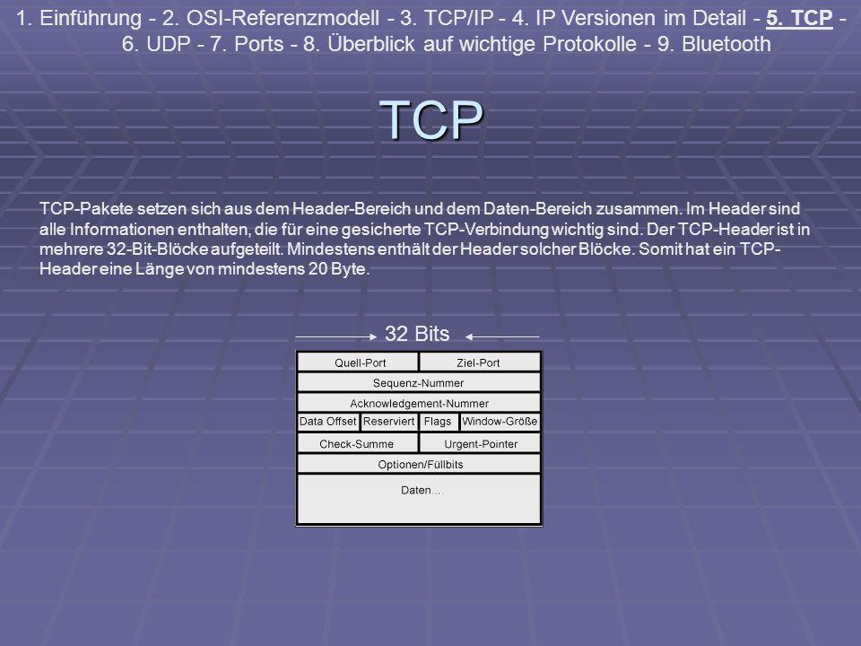 TCP 1. Einführung - 2. OSI-Referenzmodell - 3. TCP/IP - 4. IP Versionen im Detail - 5. TCP - 6. UDP - 7. Ports - 8. Überblick auf wichtige Protokolle