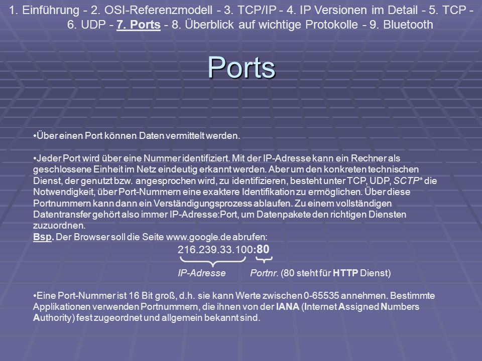 Ports 1. Einführung - 2. OSI-Referenzmodell - 3. TCP/IP - 4. IP Versionen im Detail - 5. TCP - 6. UDP - 7. Ports - 8. Überblick auf wichtige Protokoll