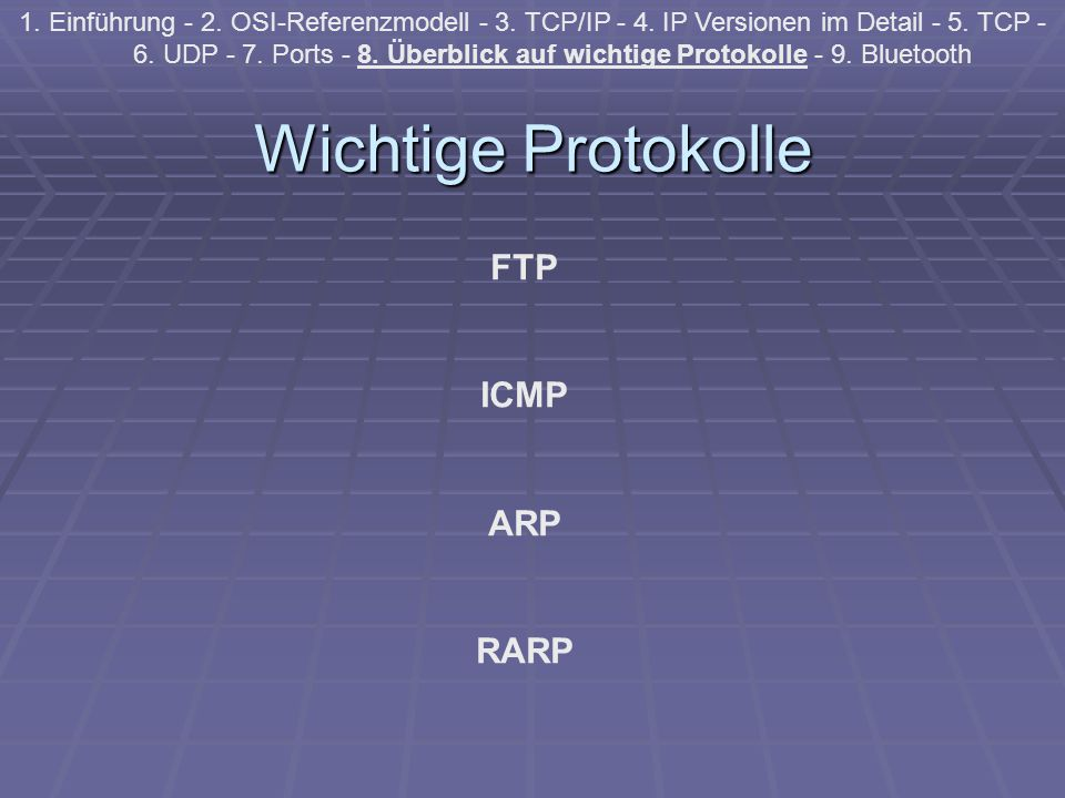 Wichtige Protokolle 1. Einführung - 2. OSI-Referenzmodell - 3. TCP/IP - 4. IP Versionen im Detail - 5. TCP - 6. UDP - 7. Ports - 8. Überblick auf wich