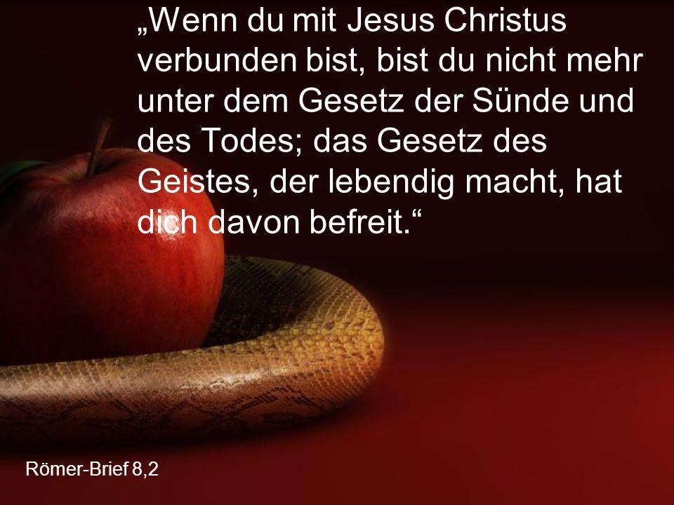 """Römer-Brief 8,2 """"Wenn du mit Jesus Christus verbunden bist, bist du nicht mehr unter dem Gesetz der Sünde und des Todes; das Gesetz des Geistes, der l"""