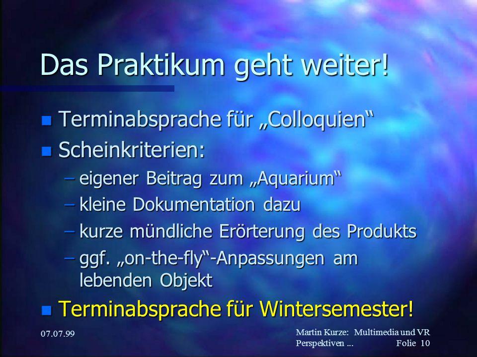 Martin Kurze:Multimedia und VR Perspektiven... Folie 10 07.07.99 Das Praktikum geht weiter.