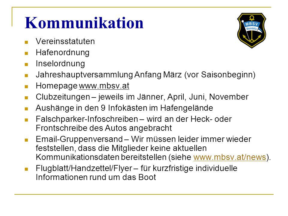 Kommunikation Vereinsstatuten Hafenordnung Inselordnung Jahreshauptversammlung Anfang März (vor Saisonbeginn) Homepage www.mbsv.at Clubzeitungen – jew