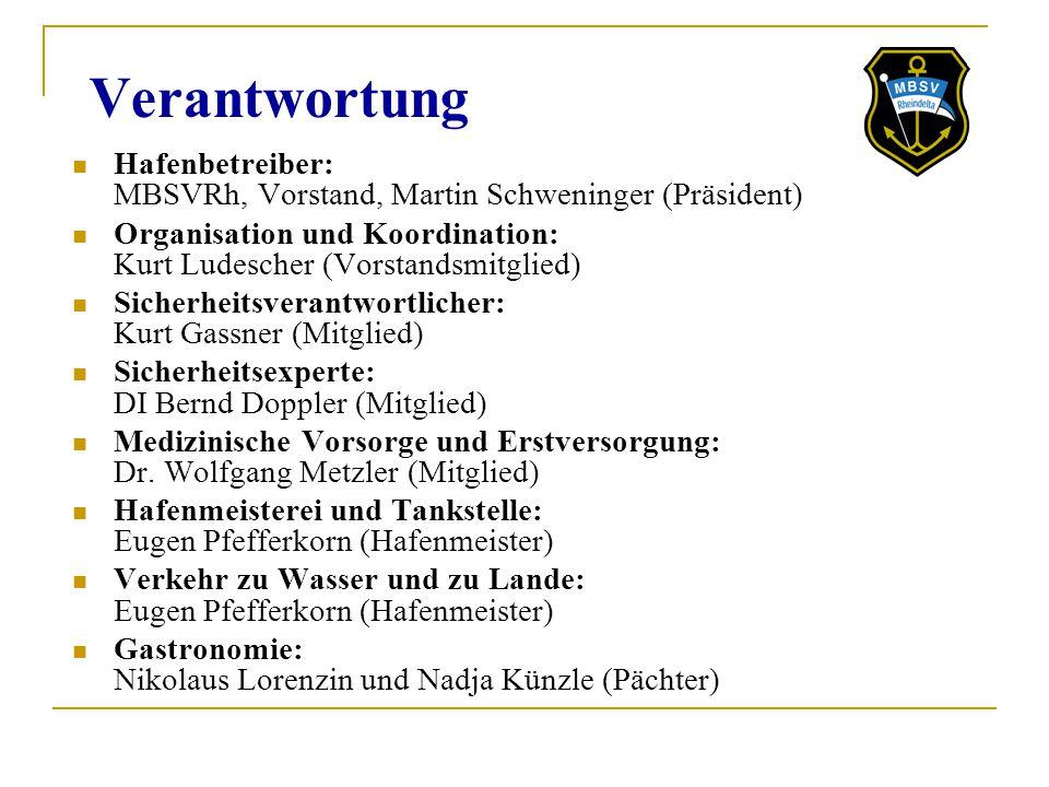 Verantwortung Hafenbetreiber: MBSVRh, Vorstand, Martin Schweninger (Präsident) Organisation und Koordination: Kurt Ludescher (Vorstandsmitglied) Siche