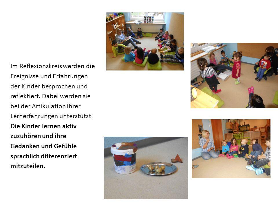 Im Reflexionskreis werden die Ereignisse und Erfahrungen der Kinder besprochen und reflektiert. Dabei werden sie bei der Artikulation ihrer Lernerfahr