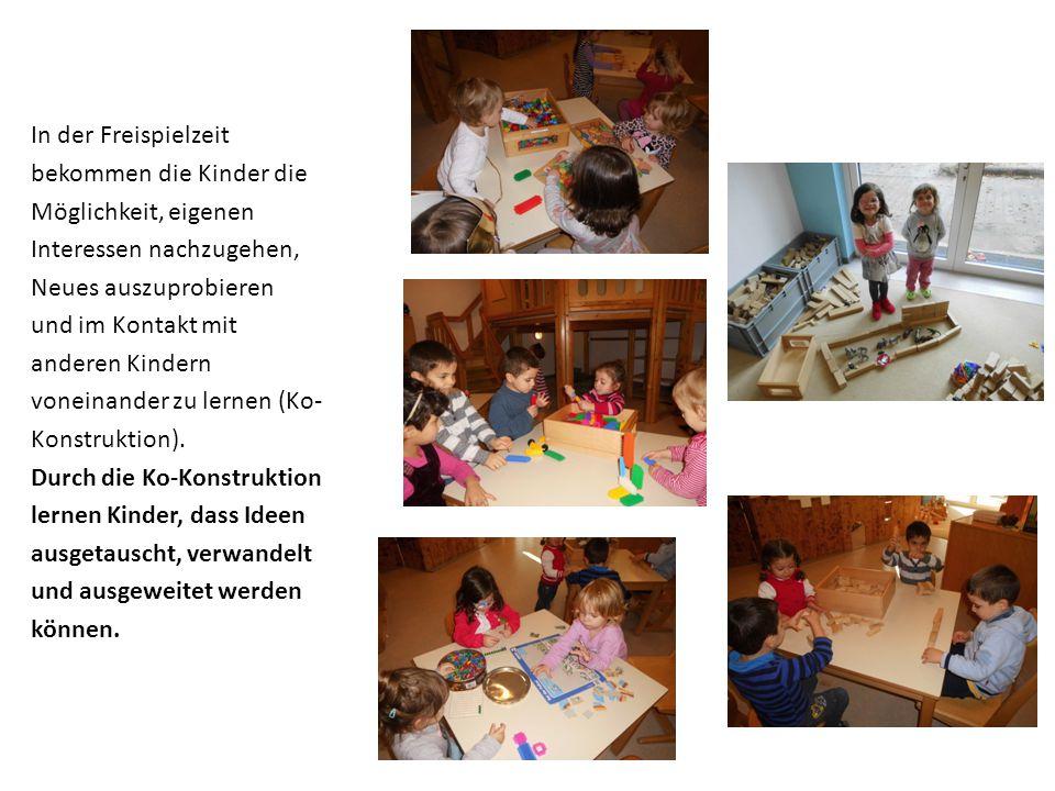 In der Freispielzeit bekommen die Kinder die Möglichkeit, eigenen Interessen nachzugehen, Neues auszuprobieren und im Kontakt mit anderen Kindern vone