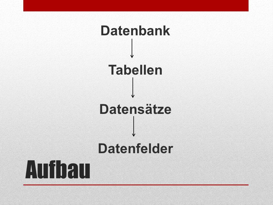 Aufbau Datenbank Tabellen Datensätze Datenfelder
