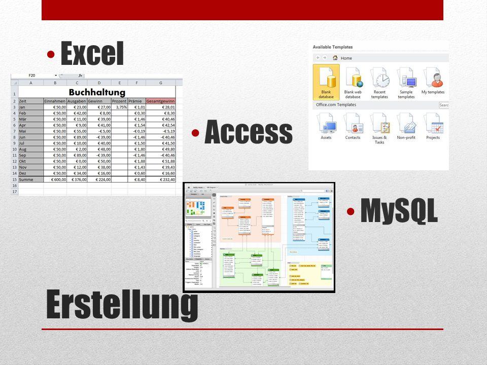 Erstellung Excel Access MySQL