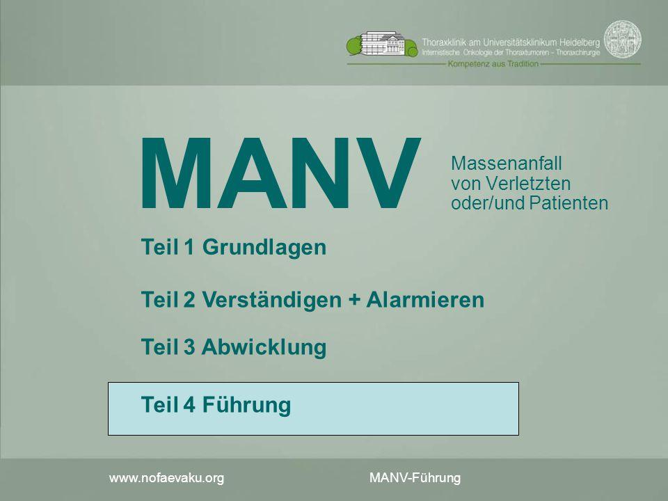 www.nofaevaku.org MANV-Führung MANV Massenanfall von Verletzten oder/und Patienten Teil 2 Verständigen + Alarmieren Teil 3 Abwicklung Teil 1 Grundlage