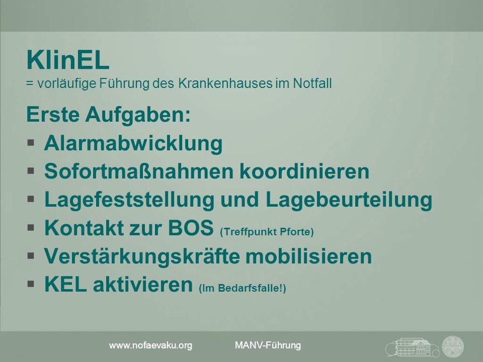 www.nofaevaku.org MANV-Führung KlinEL = vorläufige Führung des Krankenhauses im Notfall Erste Aufgaben:  Alarmabwicklung  Sofortmaßnahmen koordinier