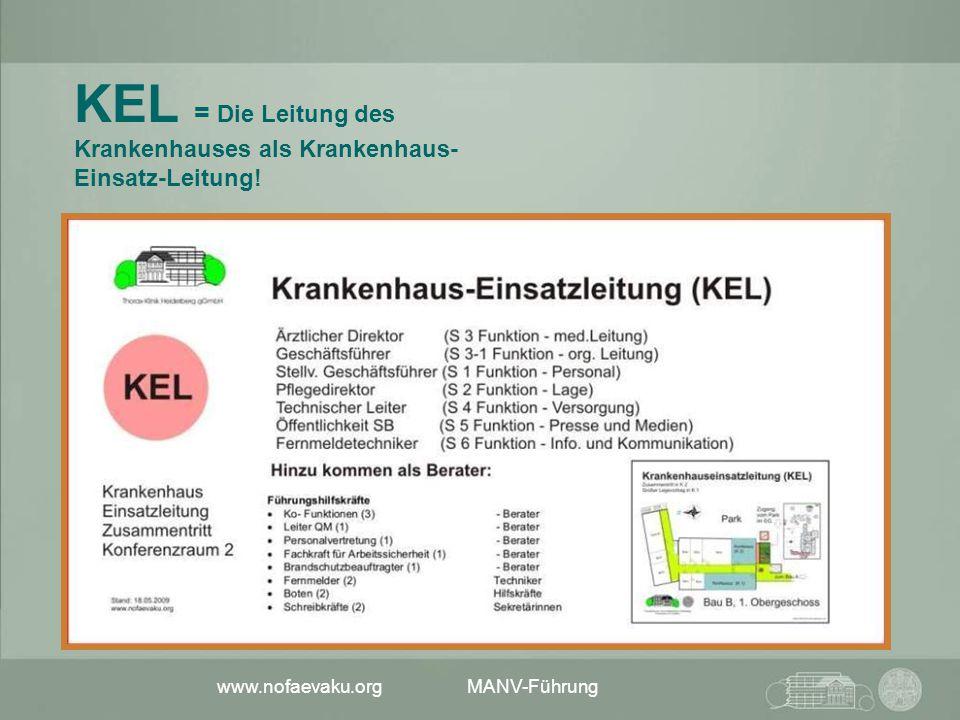 www.nofaevaku.org MANV-Führung KEL = Die Leitung des Krankenhauses als Krankenhaus- Einsatz-Leitung!