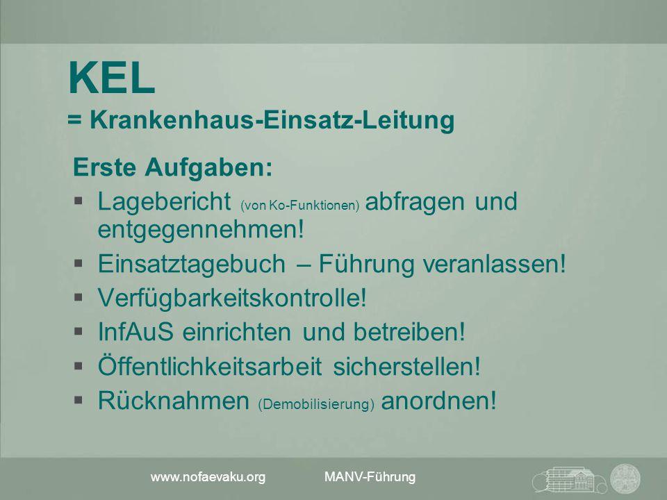 www.nofaevaku.org MANV-Führung KEL = Krankenhaus-Einsatz-Leitung Erste Aufgaben:  Lagebericht (von Ko-Funktionen) abfragen und entgegennehmen!  Eins