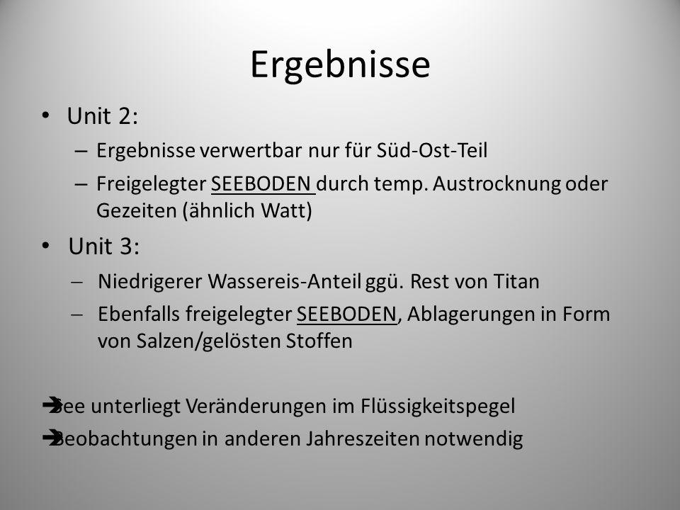 Ergebnisse Unit 2: – Ergebnisse verwertbar nur für Süd-Ost-Teil – Freigelegter SEEBODEN durch temp.