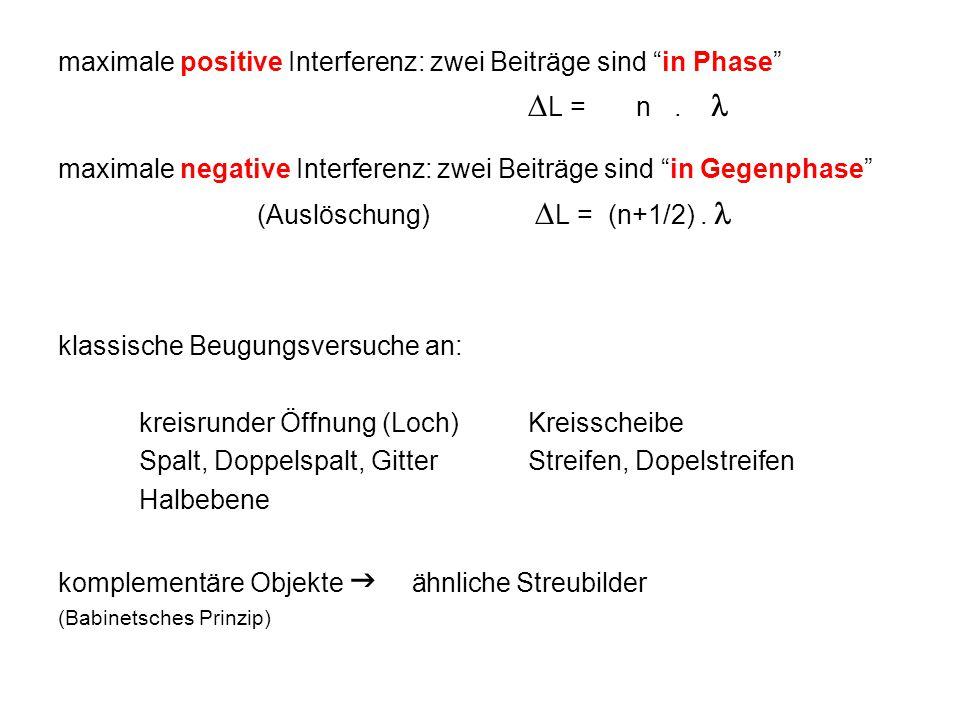 """maximale positive Interferenz: zwei Beiträge sind """"in Phase""""  L = n. maximale negative Interferenz: zwei Beiträge sind """"in Gegenphase"""" (Auslöschung)"""