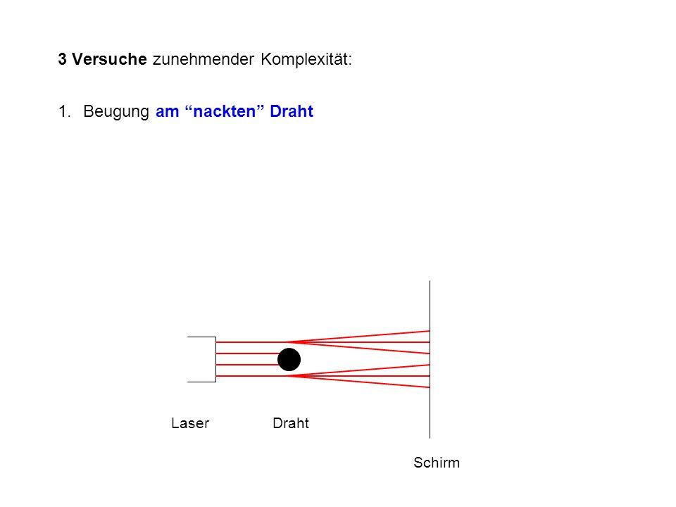 """3 Versuche zunehmender Komplexität: 1.Beugung am """"nackten"""" Draht LaserDraht Schirm"""