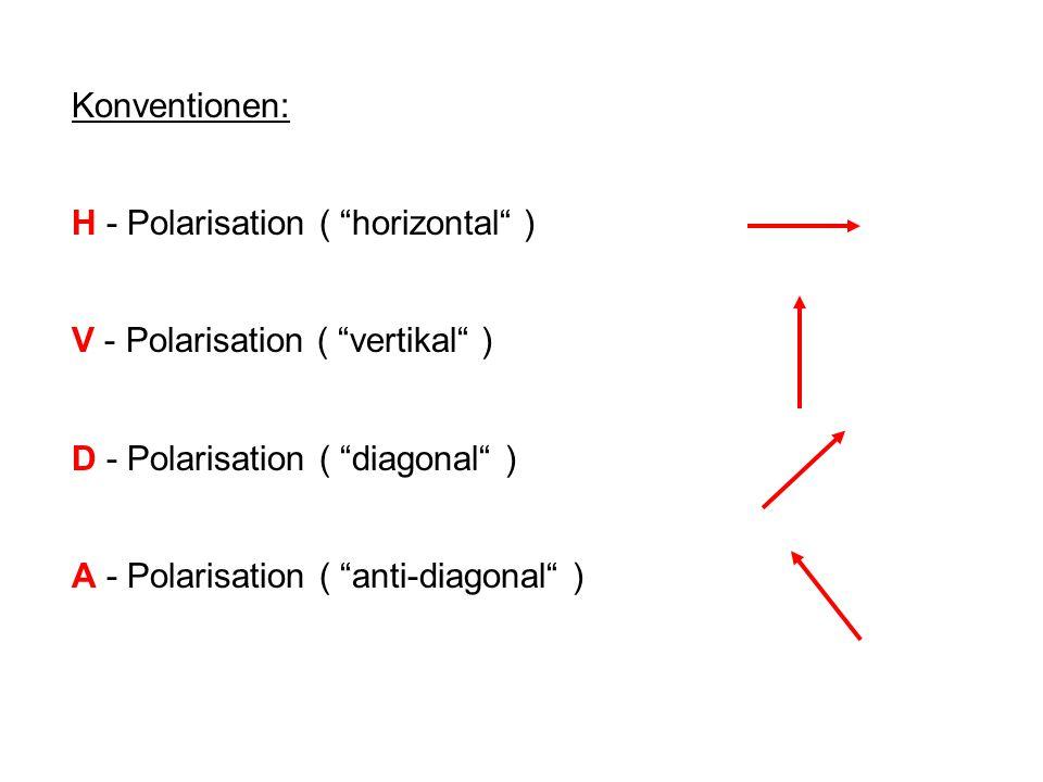 "Konventionen: H - Polarisation ( ""horizontal"" ) V - Polarisation ( ""vertikal"" ) D - Polarisation ( ""diagonal"" ) A - Polarisation ( ""anti-diagonal"" )"
