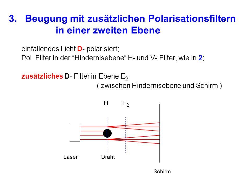 """3. Beugung mit zusätzlichen Polarisationsfiltern in einer zweiten Ebene einfallendes Licht D- polarisiert; Pol. Filter in der """"Hindernisebene"""" H- und"""