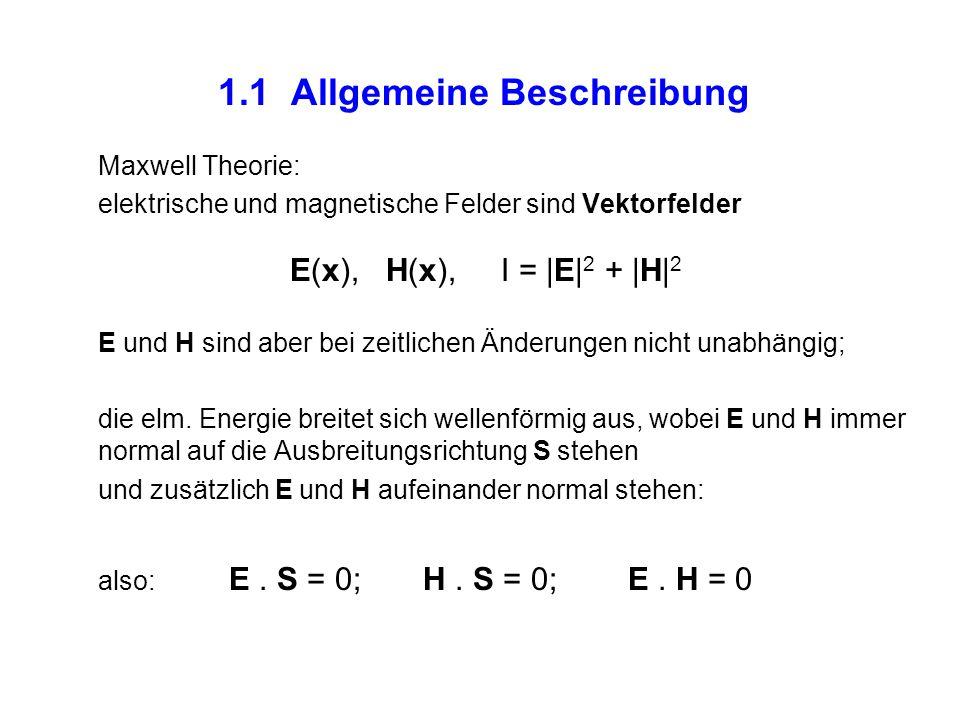 1.1 Allgemeine Beschreibung Maxwell Theorie: elektrische und magnetische Felder sind Vektorfelder E(x), H(x), I = |E| 2 + |H| 2 E und H sind aber bei