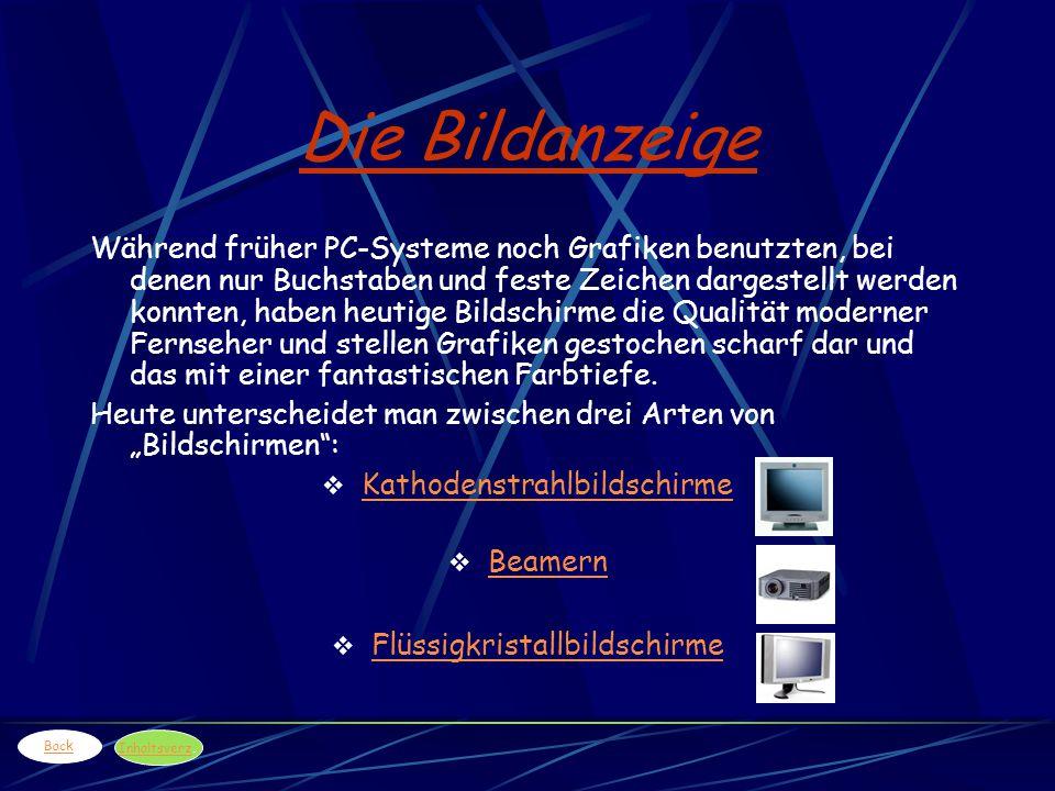 Die Bildanzeige Während früher PC-Systeme noch Grafiken benutzten, bei denen nur Buchstaben und feste Zeichen dargestellt werden konnten, haben heutig