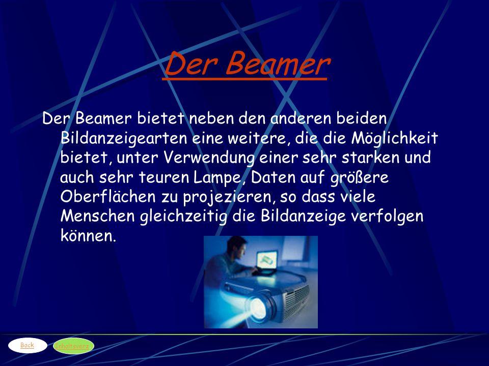 Der Beamer Der Beamer bietet neben den anderen beiden Bildanzeigearten eine weitere, die die Möglichkeit bietet, unter Verwendung einer sehr starken u