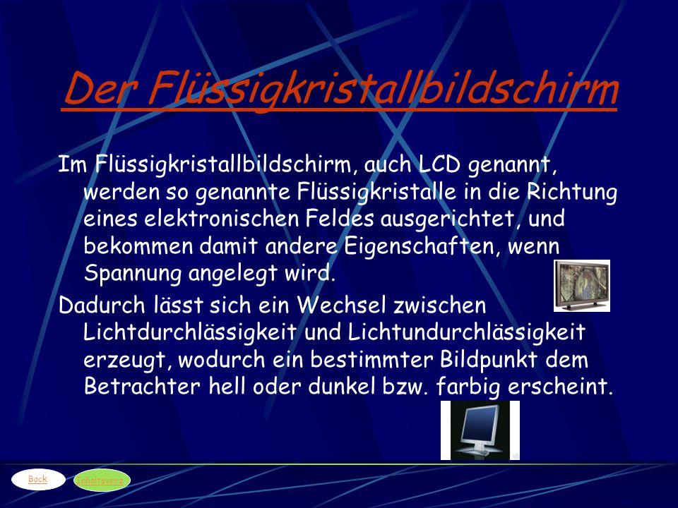 Der Flüssigkristallbildschirm Im Flüssigkristallbildschirm, auch LCD genannt, werden so genannte Flüssigkristalle in die Richtung eines elektronischen