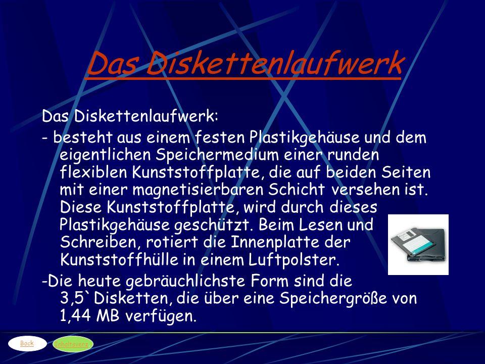 Das Diskettenlaufwerk Das Diskettenlaufwerk: - besteht aus einem festen Plastikgehäuse und dem eigentlichen Speichermedium einer runden flexiblen Kuns