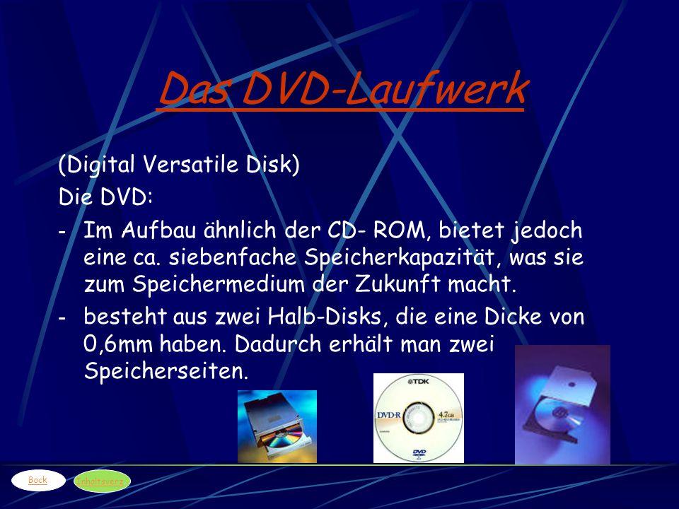Das DVD-Laufwerk (Digital Versatile Disk) Die DVD: - Im Aufbau ähnlich der CD- ROM, bietet jedoch eine ca. siebenfache Speicherkapazität, was sie zum