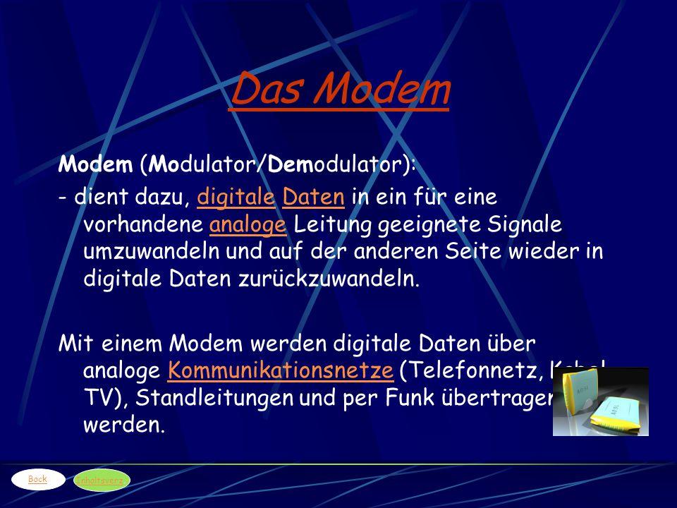 Das Modem Modem (Modulator/Demodulator): - dient dazu, digitale Daten in ein für eine vorhandene analoge Leitung geeignete Signale umzuwandeln und auf