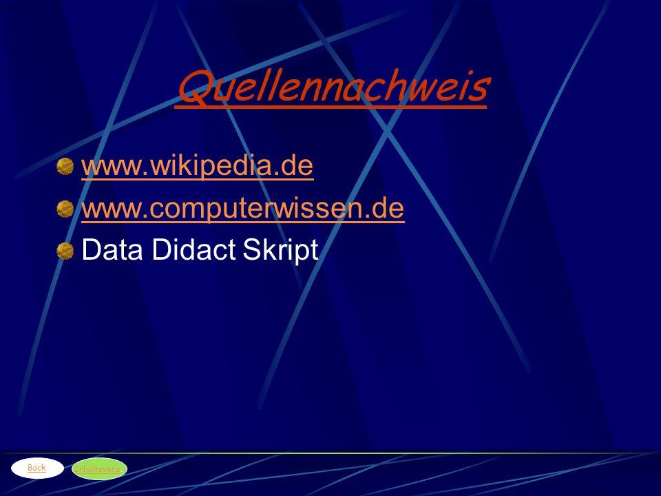 Quellennachweis www.wikipedia.de www.computerwissen.de Data Didact Skript Back Inhaltsverz Inhaltsverz.