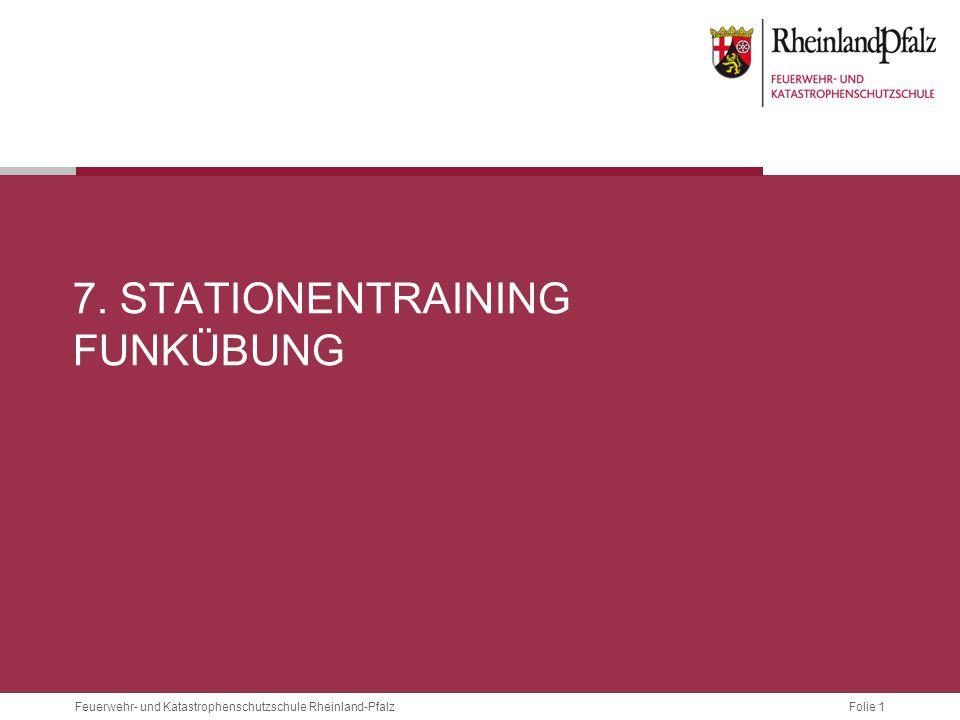 Folie 1 Feuerwehr- und Katastrophenschutzschule Rheinland-Pfalz 7. STATIONENTRAINING FUNKÜBUNG