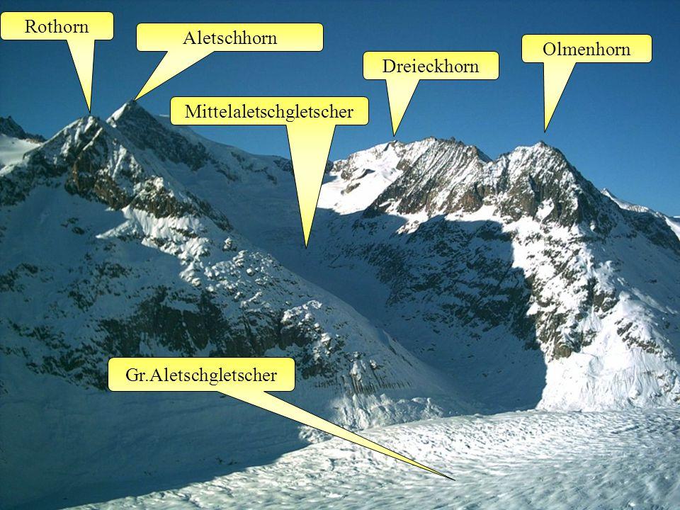 Gr.Aletschgletscher Rothorn Olmenhorn Aletschhorn Mittelaletschgletscher Dreieckhorn