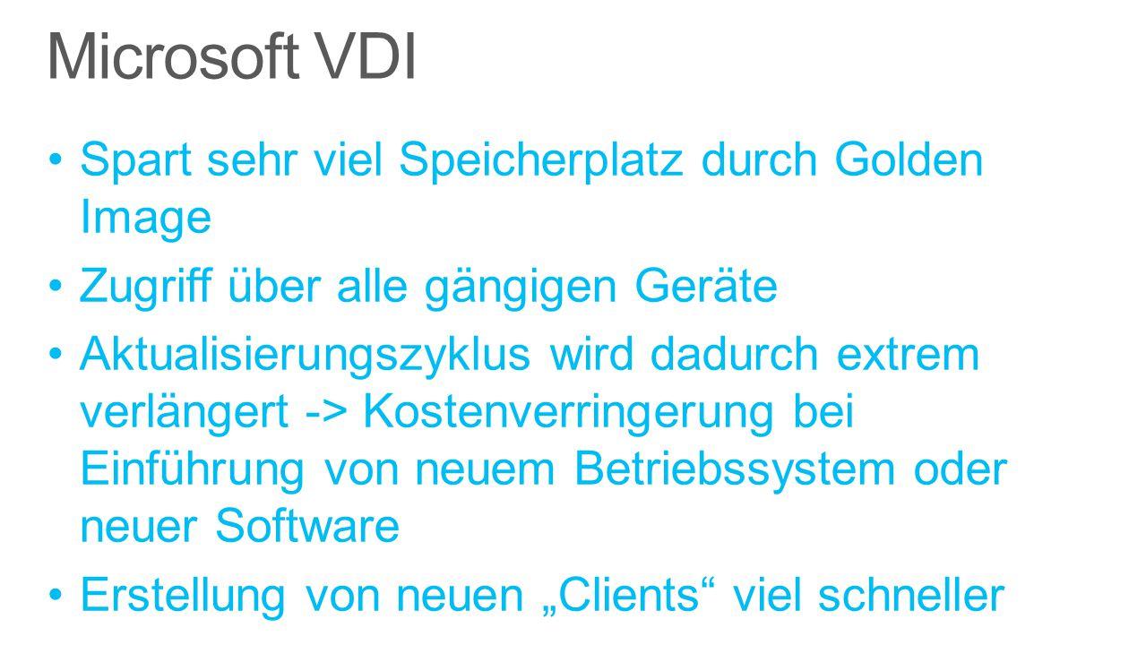 """Microsoft VDI Spart sehr viel Speicherplatz durch Golden Image Zugriff über alle gängigen Geräte Aktualisierungszyklus wird dadurch extrem verlängert -> Kostenverringerung bei Einführung von neuem Betriebssystem oder neuer Software Erstellung von neuen """"Clients viel schneller"""