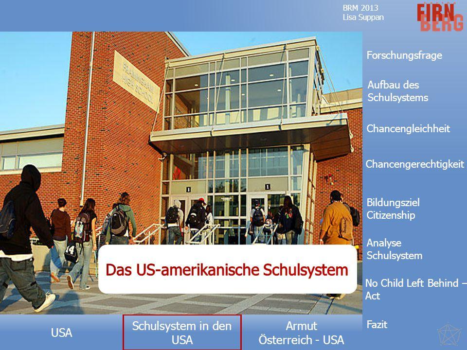 Armut Österreich - USA USA BRM 2013 Lisa Suppan Forschungsfrage Aufbau des Schulsystems No Child Left Behind – Act Analyse Schulsystem Fazit Bildungsziel Citizenship Chancengleichheit Chancengerechtigkeit Schulsystem in den USA