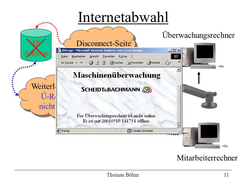 Thomas Böhm11 Internetabwahl Mitarbeiterrechner Überwachungsrechner Internet Weiterleitungsseite Ü-Rechner nicht online Disconnect-SeiteIP Adresse