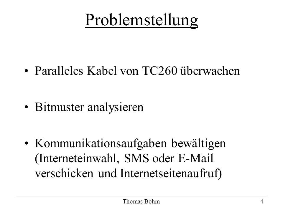Paralleles Kabel von TC260 überwachen Bitmuster analysieren Kommunikationsaufgaben bewältigen (Interneteinwahl, SMS oder E-Mail verschicken und Intern