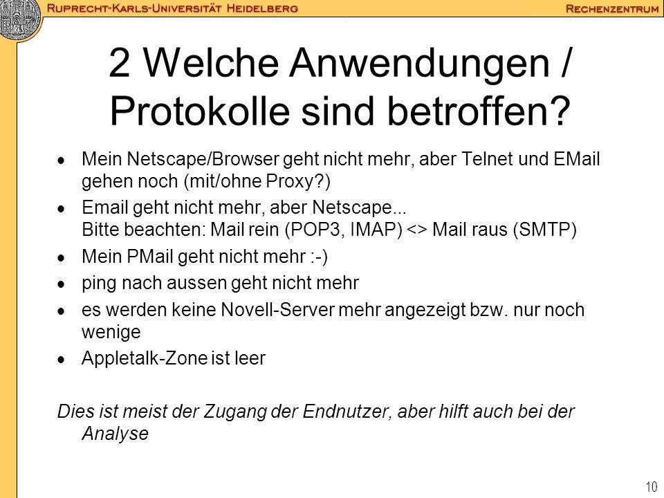 10 2 Welche Anwendungen / Protokolle sind betroffen?  Mein Netscape/Browser geht nicht mehr, aber Telnet und EMail gehen noch (mit/ohne Proxy?)  Ema