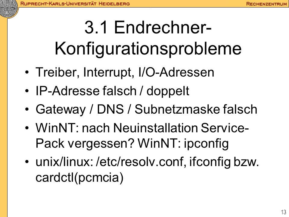 13 3.1 Endrechner- Konfigurationsprobleme Treiber, Interrupt, I/O-Adressen IP-Adresse falsch / doppelt Gateway / DNS / Subnetzmaske falsch WinNT: nach