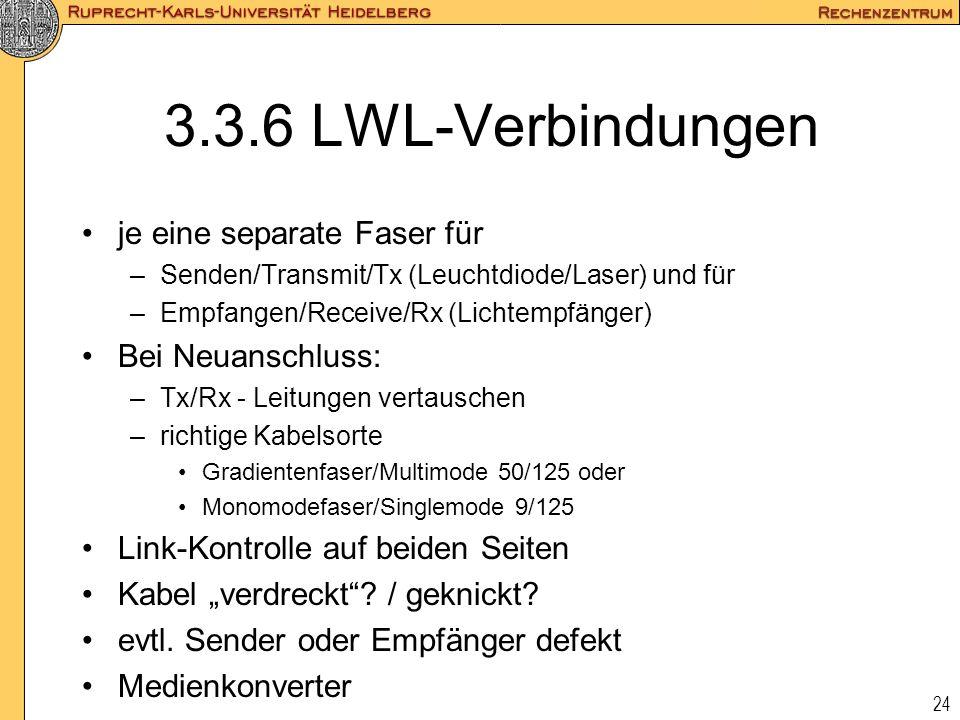24 3.3.6 LWL-Verbindungen je eine separate Faser für –Senden/Transmit/Tx (Leuchtdiode/Laser) und für –Empfangen/Receive/Rx (Lichtempfänger) Bei Neuans