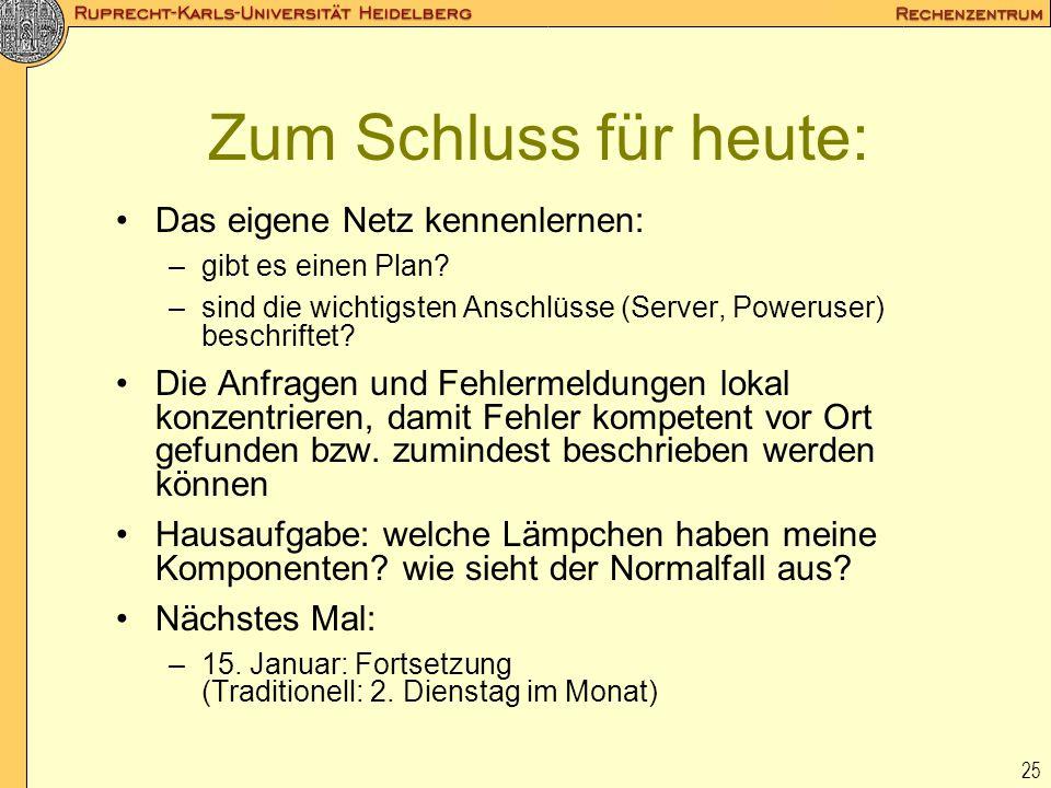 25 Zum Schluss für heute: Das eigene Netz kennenlernen: –gibt es einen Plan? –sind die wichtigsten Anschlüsse (Server, Poweruser) beschriftet? Die Anf