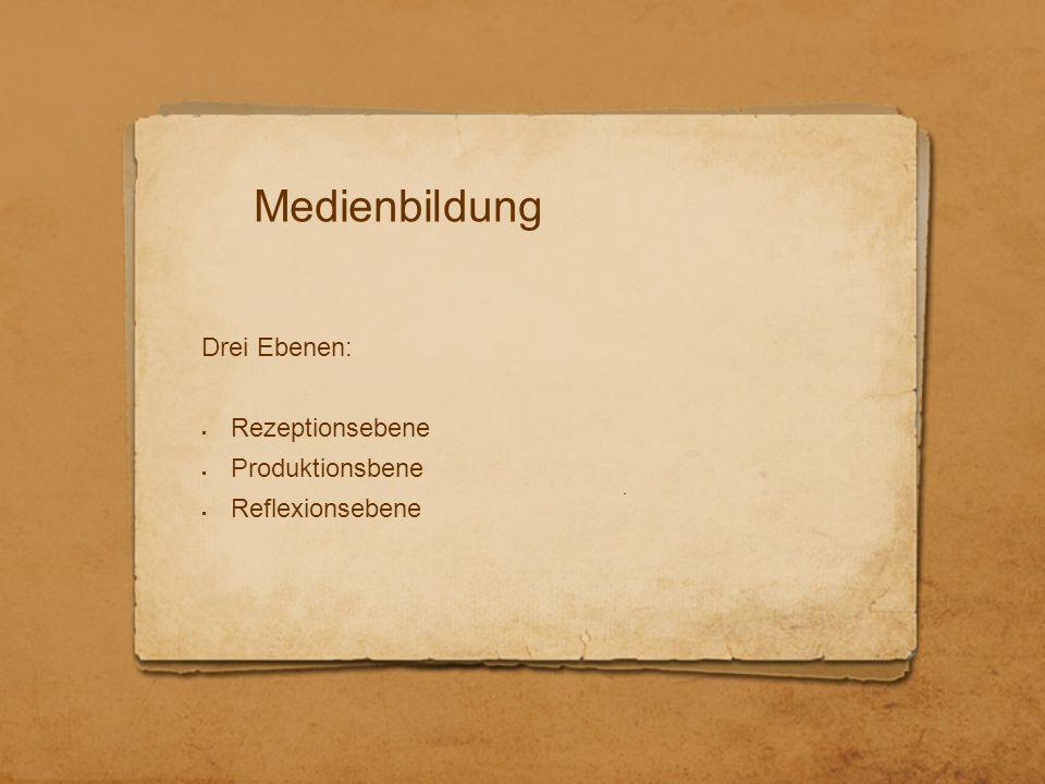 Medienbildung Drei Ebenen:  Rezeptionsebene  Produktionsbene  Reflexionsebene