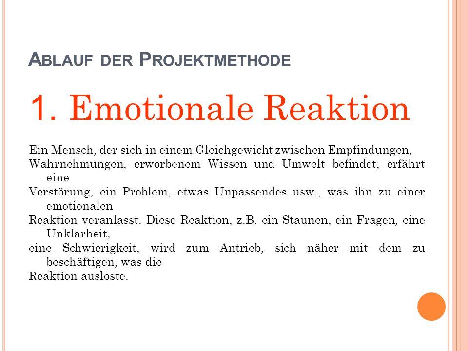 A BLAUF DER P ROJEKTMETHODE 1. Emotionale Reaktion Ein Mensch, der sich in einem Gleichgewicht zwischen Empfindungen, Wahrnehmungen, erworbenem Wissen