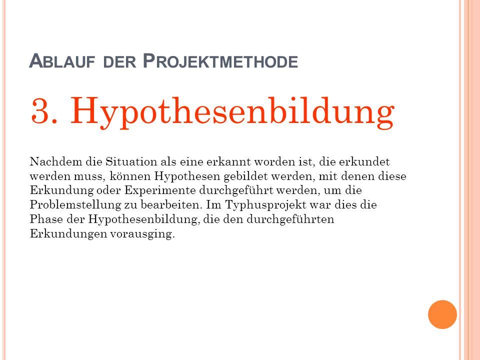 A BLAUF DER P ROJEKTMETHODE 3. Hypothesenbildung Nachdem die Situation als eine erkannt worden ist, die erkundet werden muss, können Hypothesen gebild
