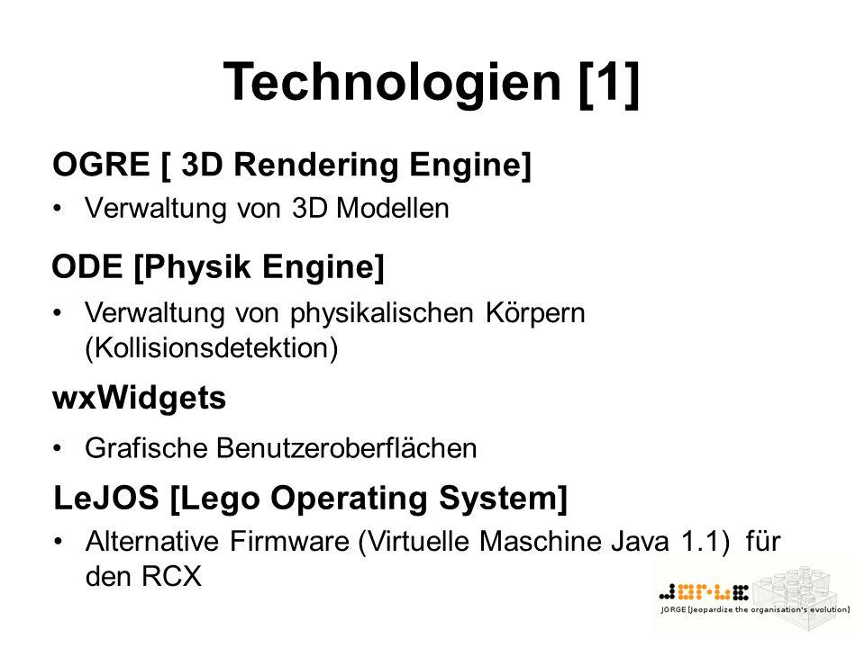 OGRE [ 3D Rendering Engine] Verwaltung von 3D Modellen Verwaltung von physikalischen Körpern (Kollisionsdetektion) ODE [Physik Engine] Technologien [1] wxWidgets Grafische Benutzeroberflächen LeJOS [Lego Operating System] Alternative Firmware (Virtuelle Maschine Java 1.1) für den RCX