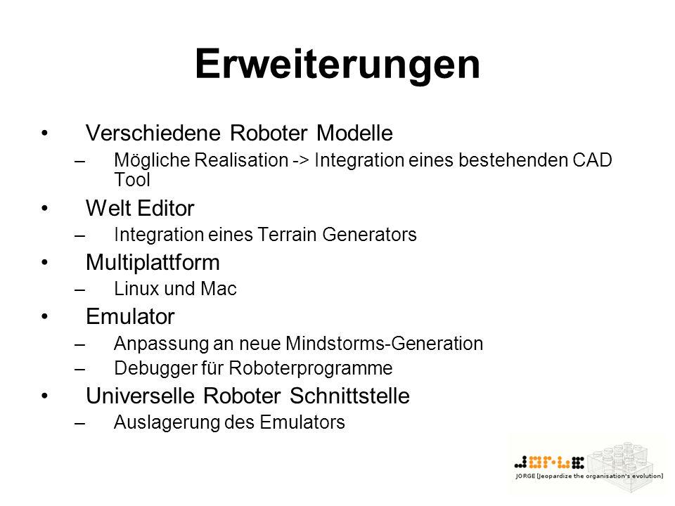 Erweiterungen Verschiedene Roboter Modelle –Mögliche Realisation -> Integration eines bestehenden CAD Tool Welt Editor –Integration eines Terrain Generators Multiplattform –Linux und Mac Emulator –Anpassung an neue Mindstorms-Generation –Debugger für Roboterprogramme Universelle Roboter Schnittstelle –Auslagerung des Emulators