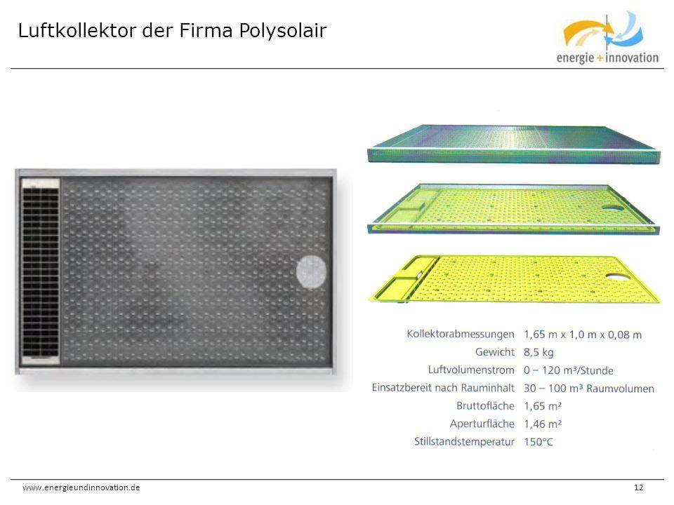 www.energieundinnovation.de12 Luftkollektor der Firma Polysolair