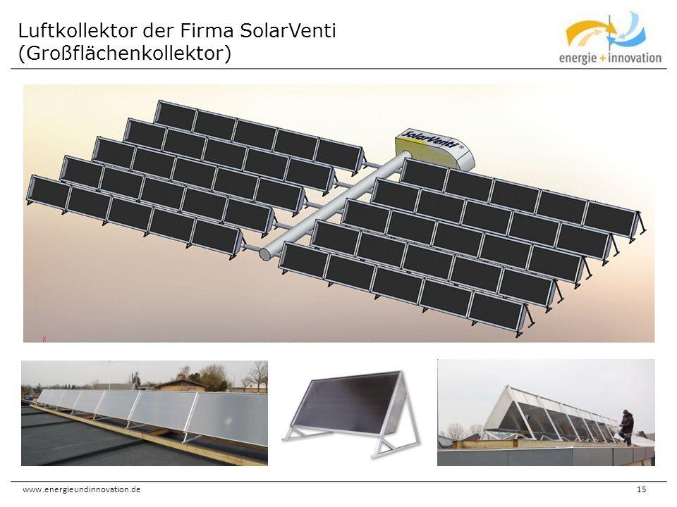 www.energieundinnovation.de15 Luftkollektor der Firma SolarVenti (Großflächenkollektor)