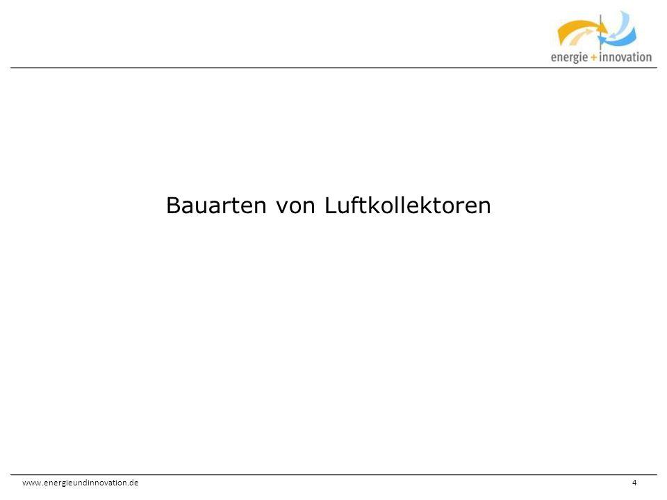 www.energieundinnovation.de35 Von der Lüftung zum solare Luftsystem Umluftbetrieb mit Wärme(feststoff)speicher Varianten wie zuvor, mit Warmwasserbereitung Wandheizung im Umluftbetrieb (Hypokauste)